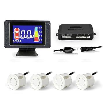Sistema de Sensor de aparcamiento de coche Auto Detector de marcha atrás con pantalla digital y step-up alarma - blanco: Amazon.es: Electrónica