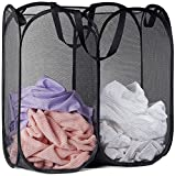 Mesh Popup Laundry Hamper - Portable, Durable Handles, Collapsible for Storage and Easy to Open. Folding Pop-Up Clothes Hampers are Great for The Kids Room, College Dorm or Travel. (Black)