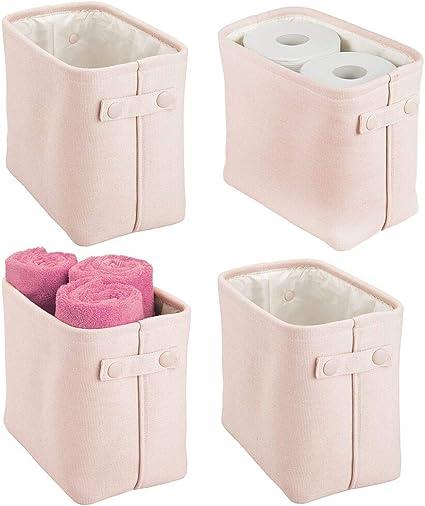 Hellrosa praktischer Badezimmer Organizer aus Baumwolle mit Henkeln mDesign Aufbewahrungskorb mit Innenbeschichtung und Strukturdesign ideal zur Kosmetikaufbewahrung