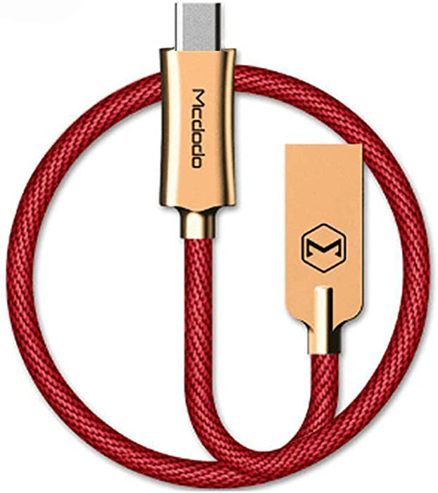 Smart LED 6FT/1.8M Auto Disconnect Nylon Braided Sync Charge USB Data Cable Compatible iPhone/iPod/iPad (6FT Red)
