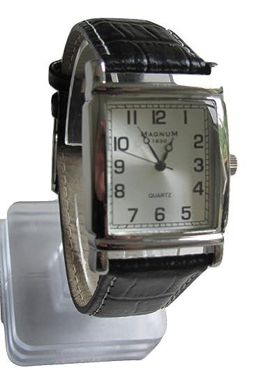 Magnum 1930 rectangular Hombre banda reloj de cuarzo piel Negro Unisex Business: Amazon.es: Relojes