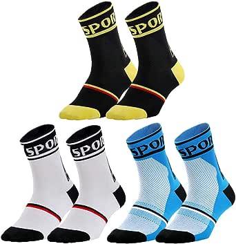 Nuoshen - Calcetines deportivos para ciclismo, 3 pares de calcetines de ciclismo, impermeables, impermeables, transpirables, para ciclismo, correr, senderismo, esquí: Amazon.es: Ropa y accesorios