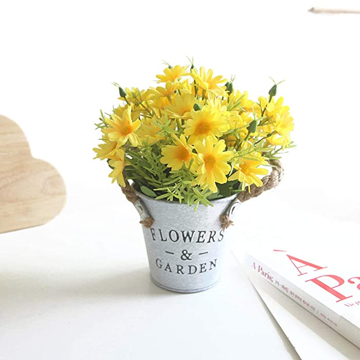 Charmly Artificial Flowers Potted European Style Design Silk Daisy Arrangements House Office Restaurant Table Centerpieces Windowsill Decor Daisy-Spring Yellow