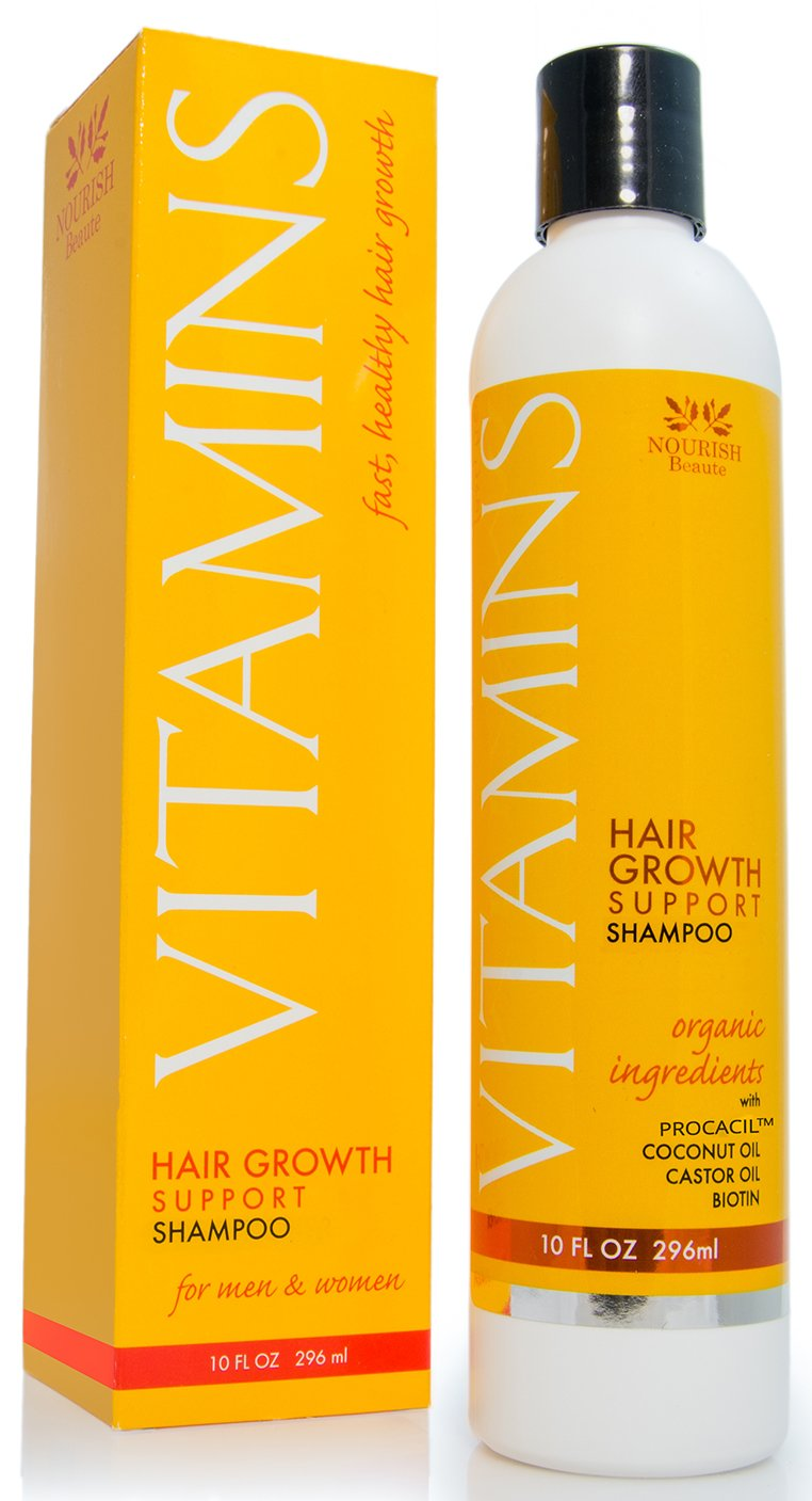 Vitamins Hair Growth SHAMPOO - 121% Regrowth and 47% Less Thinning - With DHT Blockers and Biotin for Hair Growth – 2 Month Supply by Nourish Beaute