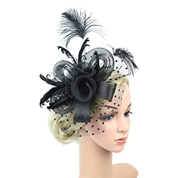 7e2694d4d9824 Buy Binwwede Wedding Bridal Headdress Feather Mesh Party Prom Hat Hair  Accessories (Black) Online at Low Prices in India - Amazon.in