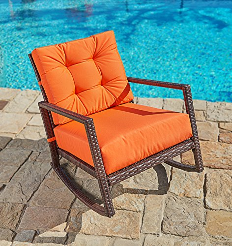 Suncrown Outdoor Furniture Vibrant Orange Patio Rocking Chair | All-Weather Wicker Seat with Thick, Washable Cushions | Backyard, Pool, Porch | Smooth Gliding Rocker with Improved Stability (Resin Cushions Patio Chair)