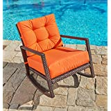 Suncrown Outdoor Furniture Vibrant Orange Patio Rocking Chair | All Weather  Wicker Seat With Thick