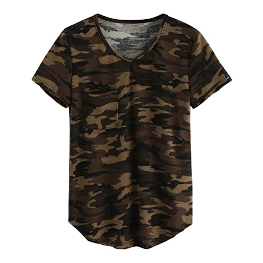 f3751c3653 Daxin Womens Camo Camouflage Longer V Neck Top Tee T Shirt Short Sleeve  Crew Tee