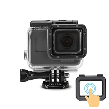 TELESIN 45M Underwater Protective Housing Shell Transparent Waterproof Case  with Touch Screen Backdoor for GoPro Hero 6 and Hero 5 Action Camera GoPro