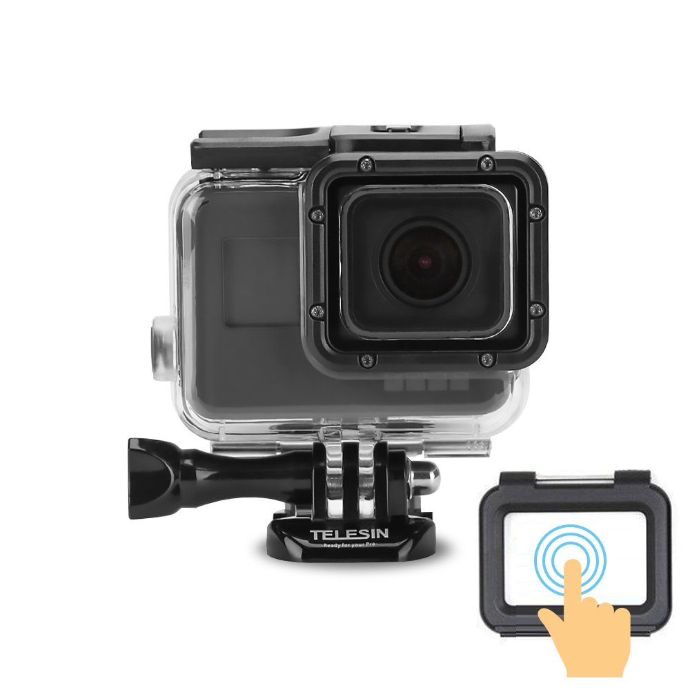 TELESIN 45M Underwater Protective Housing Shell Transparent Waterproof Case with Touch Screen Backdoor for GoPro Hero, Hero 6 Hero 5 Black Camera Case Accessories