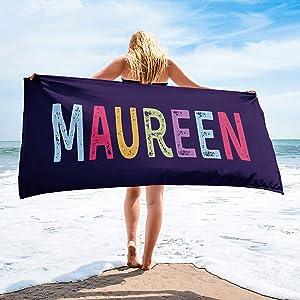 "Personalized Beach Towels for Women Kids Girls Boys Adults Men. Custom Name Beach Towel with Name Mermaid Flamingo Pineapple Shark Honeymoon Basketball Baseball Summer Gifts (Name, 32"" x 64"")"