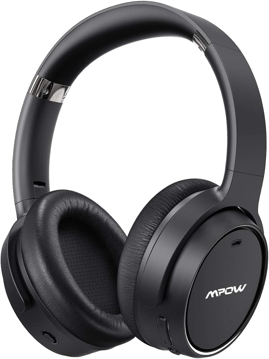 Mpow H19 Hybrid Noise Cancelling Headphones, Upgraded Bluetooth 5.0 Over Ear Wireless Headphones with 45H Playtime, Deep Bass, CVC 6.0 Microphone, ANC Headphones for Travel Work, Black