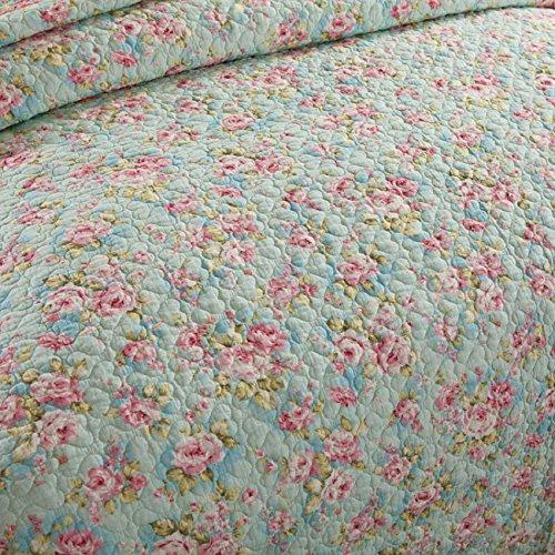 Brandream Queen Size Girls Bedding Sets Romantic Green Floral Bed Quilt Set