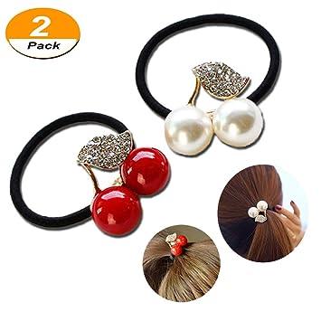 Amazon.com   2Pcs Pearls Elastic Hair Ties d414317ee1a