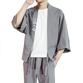 ZODOF camisa hombre Cárdigan camisa estampada lino seda ...