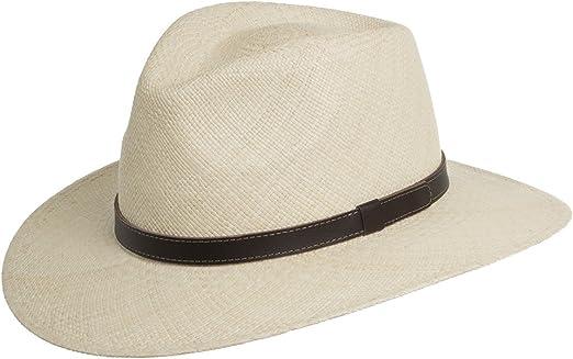 Hand Woven in Ecuador Panama Hat Henschel Mens Genuine Panama Straw with 2 3//8 Brim