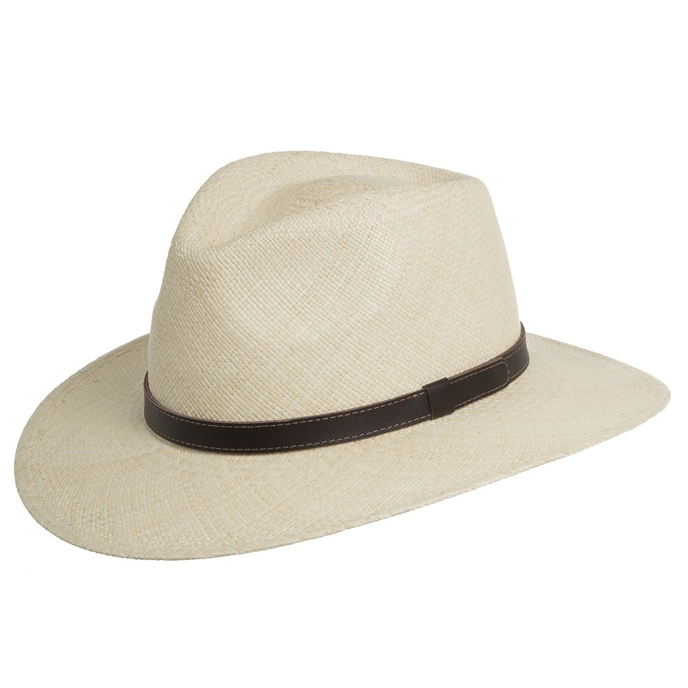 Santa Fe Australian Outback Straw Safari Panama Hat Leather Hatband Natural 7 5/8