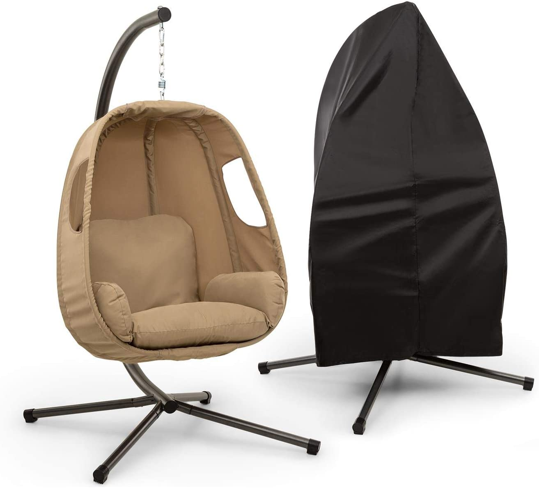 blumfeldt Bella Donna sillón Colgante + Funda para Lluvia - Balanceo Suave y Relajante, Unique Comfort, Cojines Acolchados, 12 cm de Relleno, Acolchado Lateral, Patas Muy estables, Beige