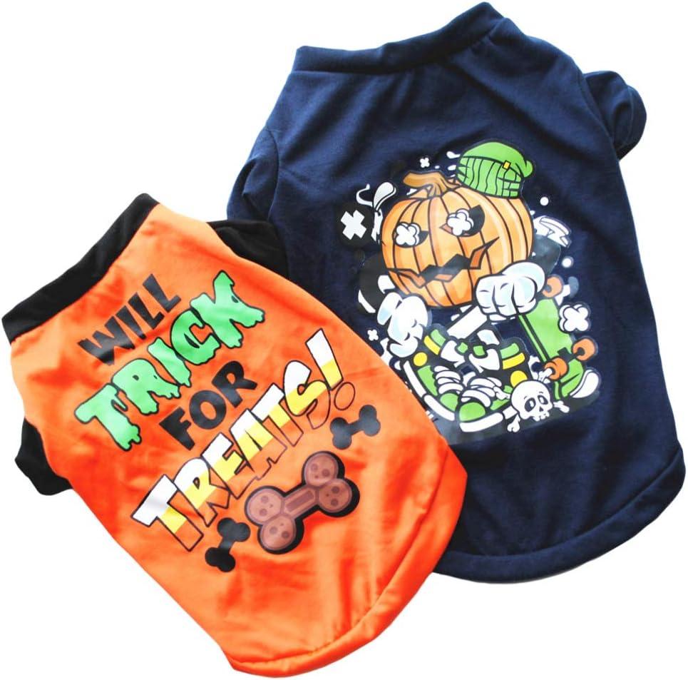 Naranja Y POPETPOP 2 Piezas de Ropa para Mascotas de Halloween Sudadera con Capucha de Truco O Trato para Perro Mascota Sudaderas de Calabaza Disfraz de Fiesta de Halloween para Mascotas