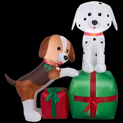 Amazoncom Christmas Inflatable Puppies With Presents Airblown
