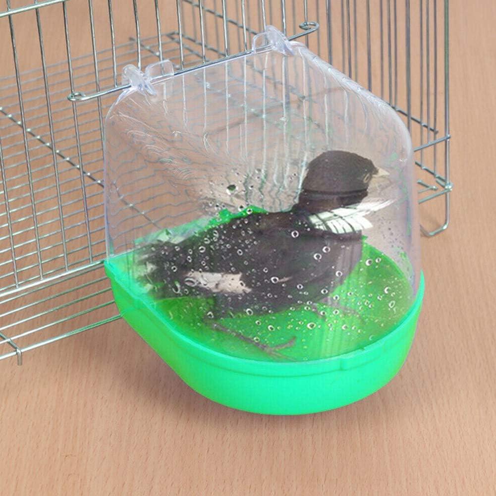 ETbotu Tina de baño de Agua para Mascotas para Jaula de Loros de Aves pequeñas Verde