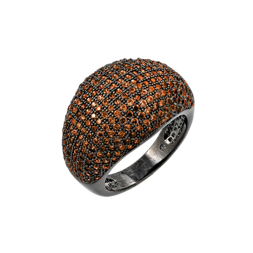 Orange Micro Pave Set Cubic Zirconia Dome Ring Black Rhodium Plated Sterling Silver Size 7