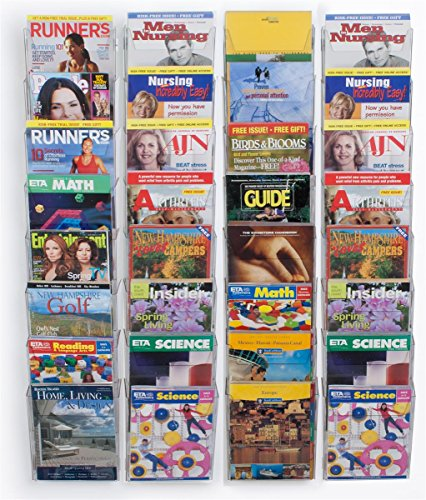Wall Mounted Magazine Rack with Tiered Design, 32 Half View Pockets or 8.5'' x 11'' Catalogs, Clear Plastic by Displays2go
