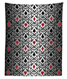 Lunarable Poker Tournament Tapestry Twin Size, Card Symbols Hearts Spade Ornament Victorian Floral Swirls Pattern, Wall Hanging Bedspread Bed Cover Wall Decor, 68 W X 88 L inches, Silver Black Red