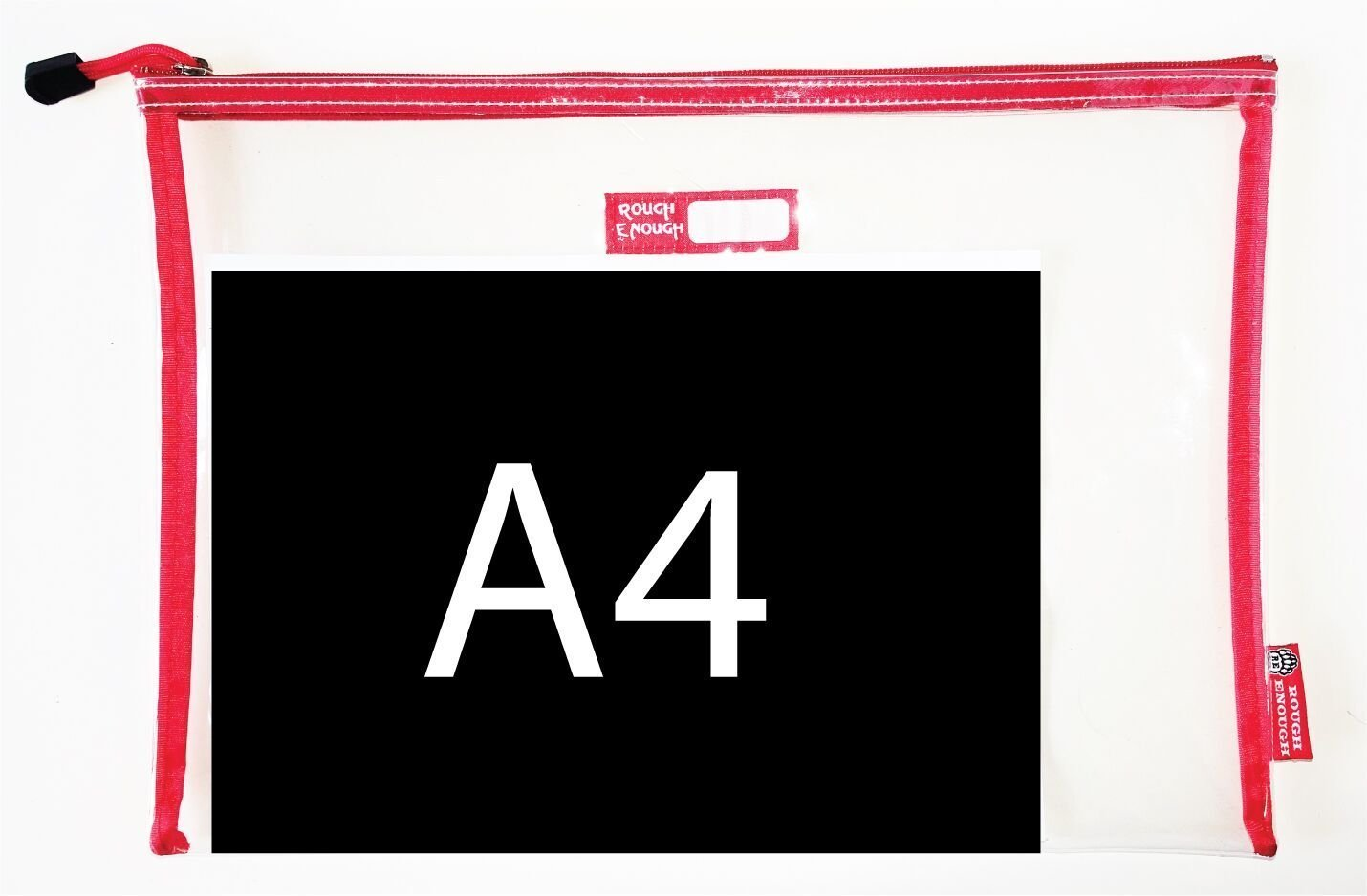 Rough Enough Durable Transparent Clear Classic Multi-Functional Big Document Pouch with Zipper A4 Size Important Storage File Holders Large Folder for Filing Organizer TSA School Business Travel by RE ROUGH ENOUGH (Image #2)