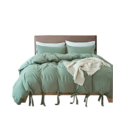 DREFEEL Egyptian Quality Vibrant Stone Washed Microfiber Green Duvet Cover Queen Size 3 Pcs Set (1 Duvet Cover, 2 Pillowcases) - Soft Comforter Cover Quilt Case Hypoallergenic - Solid Bedding