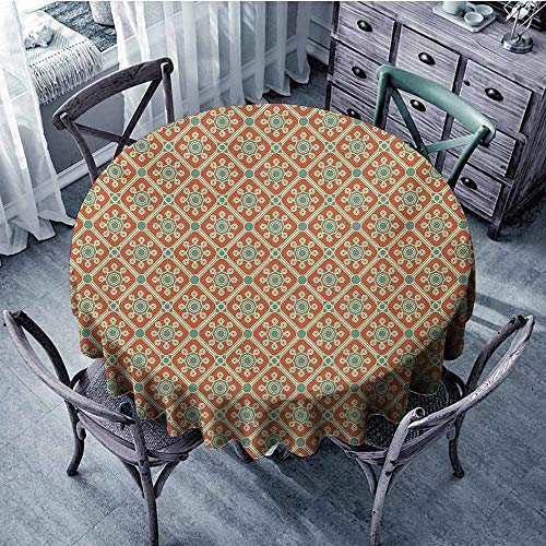 (Antique Non-Iron Round tablecloths Stylized Swirled Leaves and Petals Symbolic Dotted Artwork Old Fashioned Banquet 59