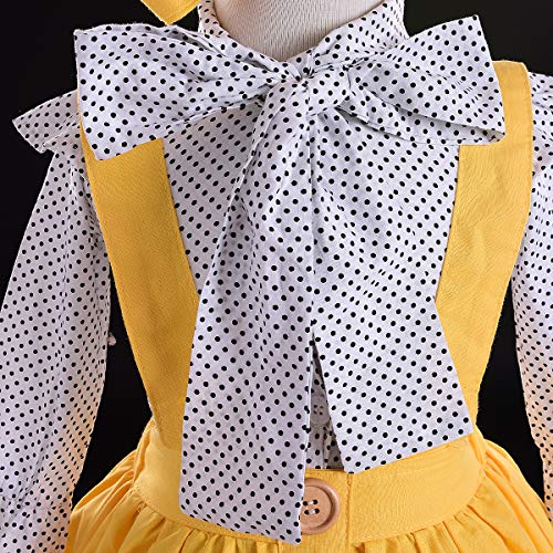 e4559a07f47 Amazon.com  Kids Baby Girl 3pcs Outfits Polka Dot Ruffles Sleeve Bowknot  Shirt Top+Suspender Braces Skirt Overalls with Headband  Clothing