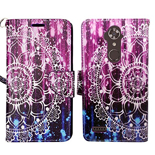 ZTE MAX XL Case, ZTE ZMax PRO 2, ZTE Blade Max 3 Wallet Cover Pouch Flip Folio [Kickstand Feature] PU Leather Cover w/ ID Card Slot & Strap for MAX XL N9560 by Zase Design (Purple Mandala Flower)