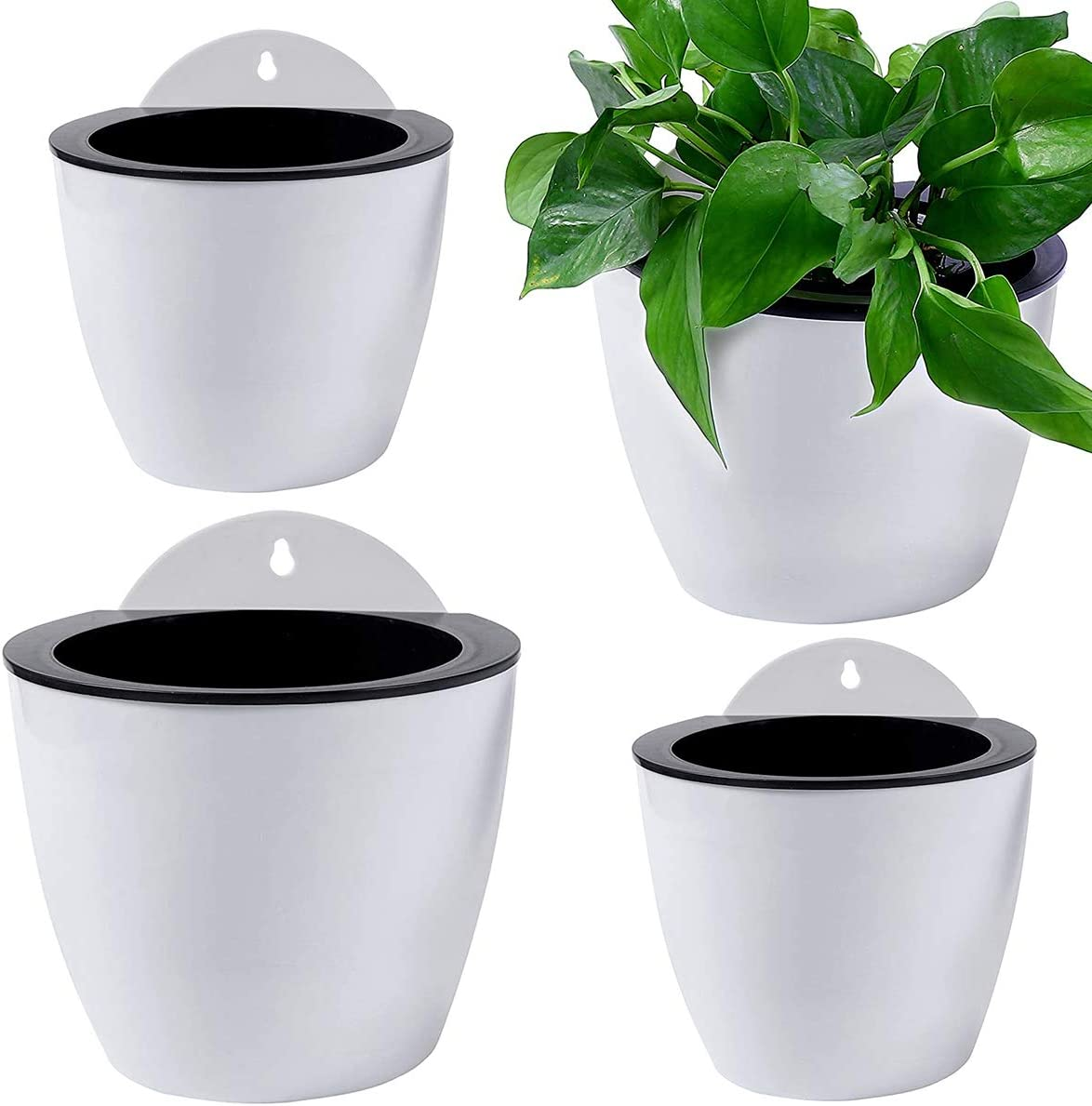 Qixuer 4 Piezas Automática Absorción de Agua para Pared Macetas,Macetas de Plástico para Colgar para Hogar Oficina Flor Balcón Cerca Adornos de Jardín (2 Tamaños)