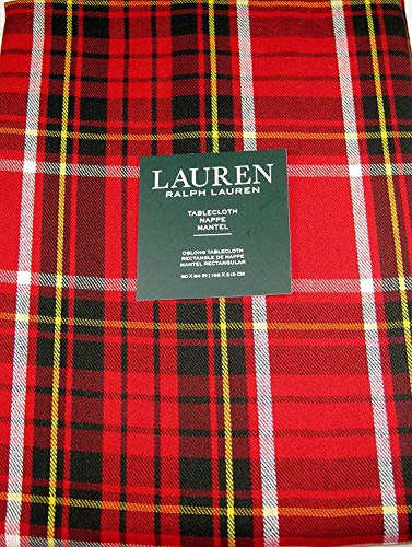 Ralph Lauren Gretchen Tartan Plaid Tablecloth Red 60 x 84 -