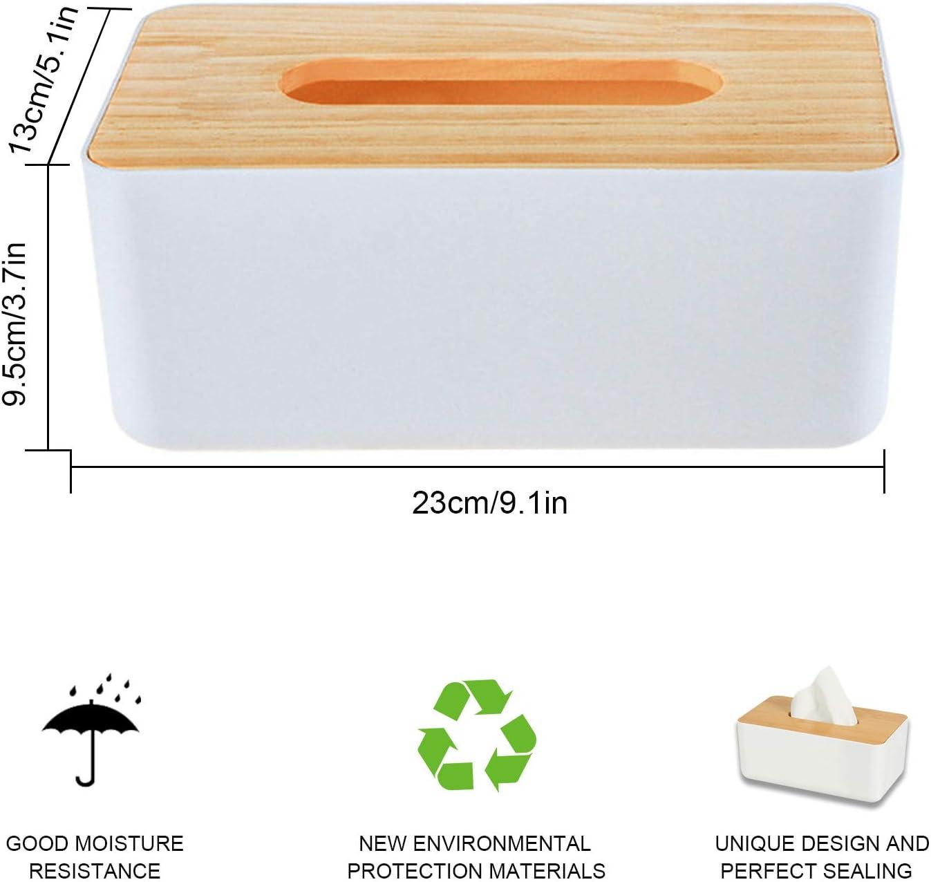otutun Feuchtt/ücherbox mit Bambusdeckel T/ücherbox Rechteckige Taschent/ücher Box f/ür f/ür Home Office Auto Multifunktions Praktische Taschent/ücherbox Kosmetikt/ücherboxe wei/ß H x B x T:10 x 23 x 13 cm
