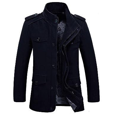 Chaqueta militar de manga larga, hecha de algodón, ligera, con capucha y cremallera, ajuste ceñido, multibolsillos, tipo gabardina, blazer; de Hdh