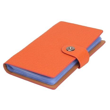 Tenn Well Classeur Pour Cartes De Visite 300 Pochettes Fermeture Magntique Orange
