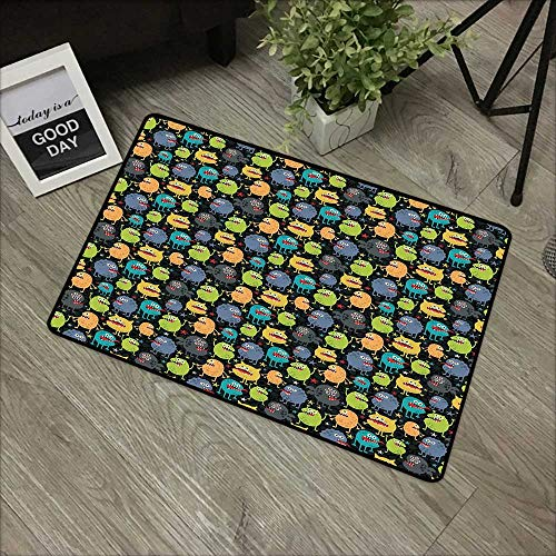 Learning pad W31 x L47 INCH Alien,Cute Funny Characters Cartoon Style Halloween Themed Monsters Abstract Background,Multicolor Easy to Clean, Easy to fold,Non-Slip Door Mat Carpet -