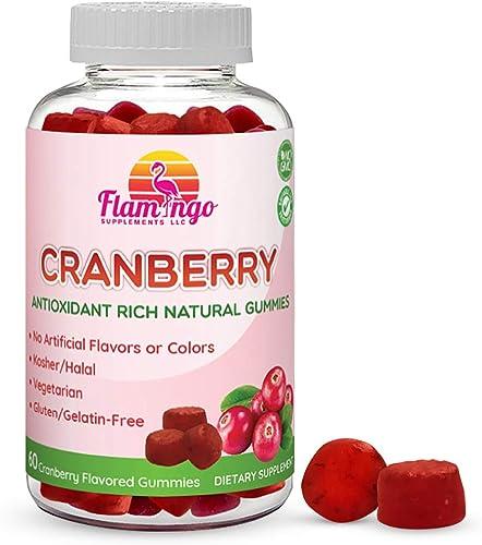 Flamingo Supplements Cranberry Gummy Supplement for Women, Men, and Kids. Vegetarian, No Gluten, Gelatin or GMO. Kosher and Halal. 60 Count