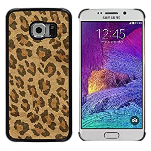 LECELL--Funda protectora / Cubierta / Piel For Samsung Galaxy S6 EDGE SM-G925 -- Spots Fur Africa Brown Beige --