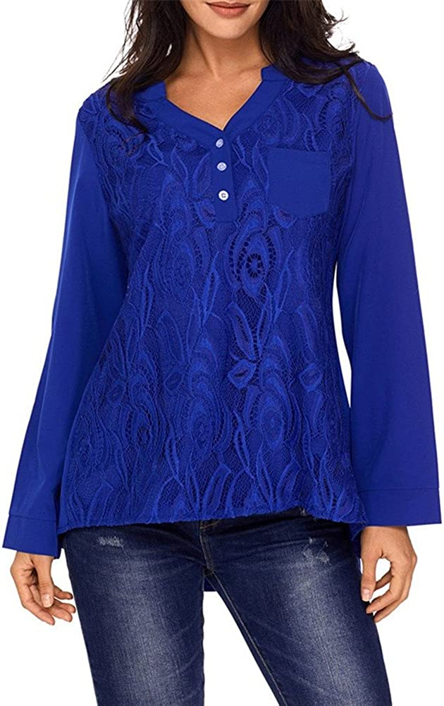 Ourfashion Womens Loose Fit Solid Cuffed Sleeve V-Neck Floral Lace Casual Blouses Tops