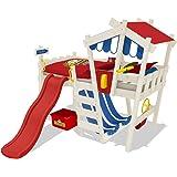 WICKEY Kinderbett CrAzY Hutty Hochbett Abenteuerbett inkl. Lattenboden - Rot-Blau + rote Rutsche + weiße Farbe
