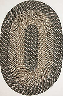 "product image for Constitution Rugs Plymouth 7'4"" x 9'4"" (88"" x 112"") Oval Braided Rug in Ponderosa Pine-Medium/Dark Olive Tones"