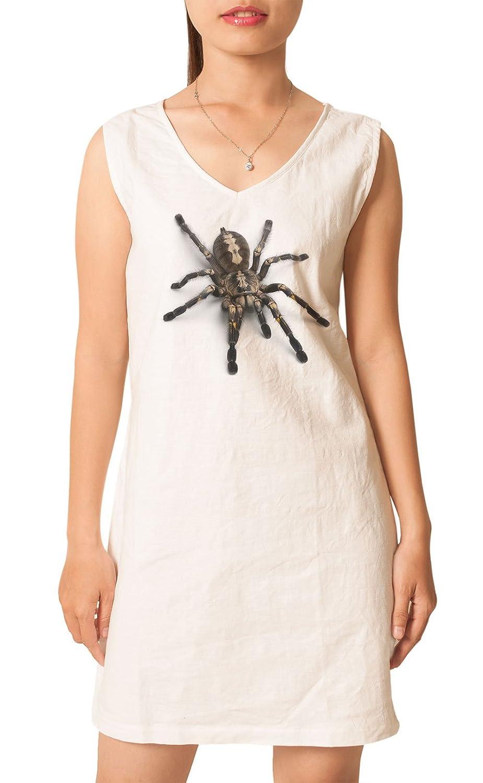 Tarantula Spider Printed Vintage V-neck Linen Mini Shift Dress WDS/_02 6