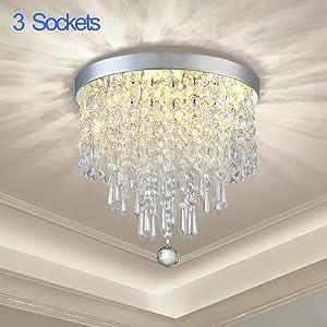 DLLT Crystal Chandelier Lighting, 3-Lights Modern Flush Mount Ceiling Crystal Light Fixture, H9.4'' x W9.8'' Mini Modern Chandelier Lighting Fixture for Bedroom, Hallway, Bathroom, Kitchen, Bar