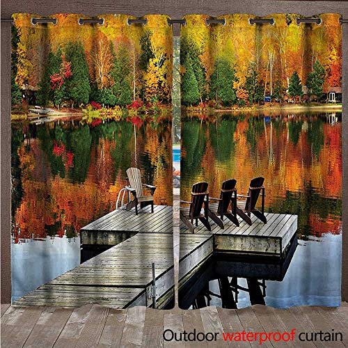 cobeDecor Landscape Outdoor Curtain for Patio Chairs on Wooden Dock W96 x L96(245cm x 245cm)