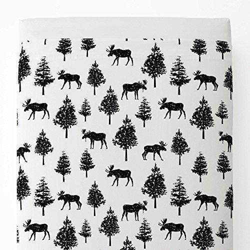 Moose Black Onyx - Carousel Designs Onyx Moose Toddler Bed Sheet Top Flat
