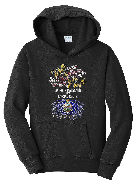 Tenacitee Girls Living in Maryland with Kansas Roots Hooded Sweatshirt