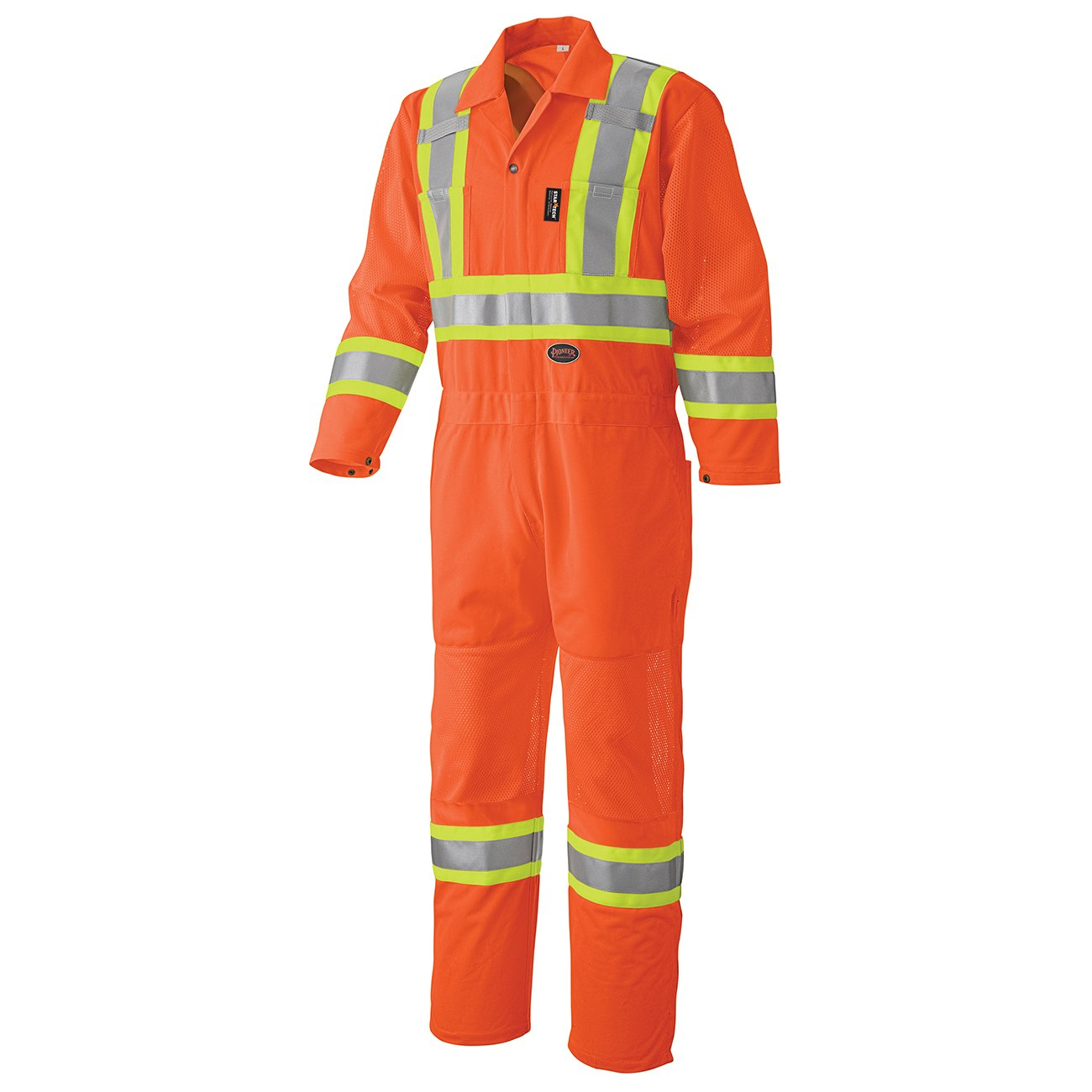 Pioneer V1070150-M Men Traffic Work Coverall - Easy Boot Access, High Visibility, Orange, M